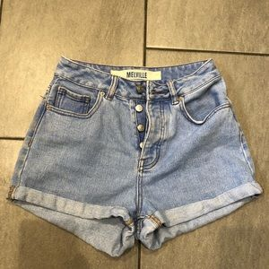 Brandy Melville Jean Shorts High Waisted Button Up